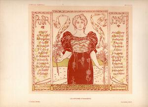 A. HANNOTIAU Affiches Etrangeres 1897 Stone Litho Poster: POUR L'ART EXHIBITION