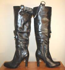 Juno Womens Tall Boots Sz 8.5 - 9 / 39 Black Leather Zip Heels Fringe Biker Moto
