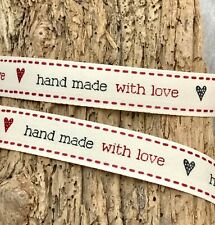 "5/8"" Handmade with Love Ribbon - Sew In Label - Handmade Gift Wrap - Shop Label"