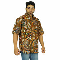 Cotton Men Shirt Hawaiian Button Down Designer Short Sleeve Casual Beach Wear