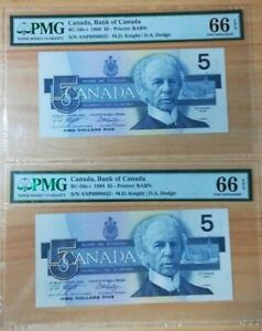 1986 Canada $5 P-BC -56e-i 2 consecutive numbers PMG 66 EPQ  Gem UNC