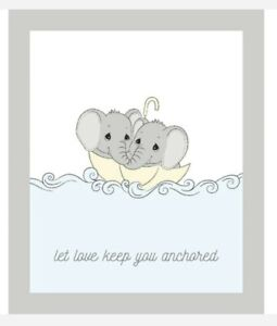 BABY QUILT PANEL * PRECIOUS MOMENTS ELEPHANTS * NEW * FREE POST * SO SWEET*