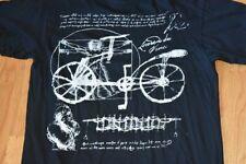 Vtg 1990s Leonardo da Vinci Black T Shirt Vitruvian Man Bicycle Art L