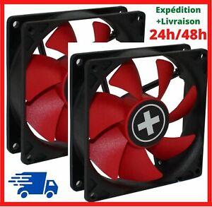 2 Ventilateur pour PC pour Boîtier 92 mm 4 Pin Broches Rouge 1800 RPM Silencieux