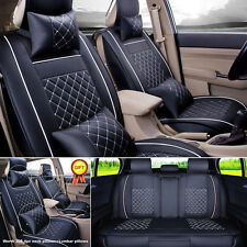 US Car 5-Seat SUV M Size PU Leather Seat Covers Front+Rear+4pc Free Pillow Set