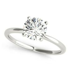 14K White Gold 4 Prong Size 4.5 5.5 Diamond Engagement Ring D Si1 Round 1 Carat
