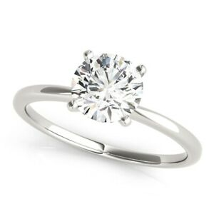 DIAMOND ENGAGEMENT RING D SI1 0.70 CT ROUND SOLITAIRE 14K WHITE GOLD 4 PRONG NEW