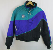 Vintage Arctic Cat Snowmobile Jacket Womens Small Neon Zip Out Liner Teal Purple