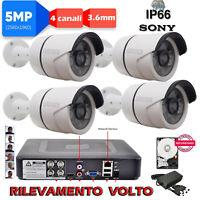 KIT SORVEGLIANZA DVR 8 Canali 5MPX + 4 TELECAMERE Sony 5MPX + HD + ALIM