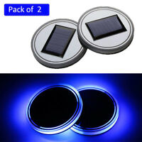 2PC Solar Cup Pad Car Accessories LED Light Cover Interior Decoration Lights NT