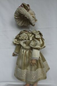 """Silk dress and hat for antique baby doll 18""""."""