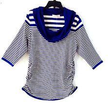 Blue Women Plus Knit Top 26/24/3X Sweater Striped Cowl Neck New Winter Fall