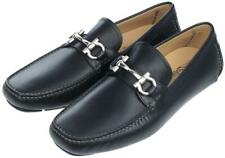 NEW SALVATORE FERRAGAMO BLACK LEATHER PARIGI GANCIO LOGO MOCCASINS SHOES 7.5 EEE