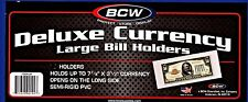 10- LARGE BCW DELUXE CURRENCY MONEY SLEEVE BILL PAPER NOTE  HOLDERS SEMI RIGID