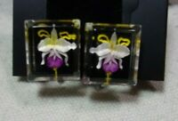 Vintage Lucite Reverse Carved Flower Screw Back Earrings 1950's! Gorgeous Orchid