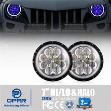 Pair 7'' Round CREE LED Headlights Halo Blue Angle Eyes 4 Jeep Wrangler JK 97-17