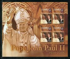 ZAMBIA  IN MEMORIAM  POPE JOHN PAUL II IMPERFORATE SHEET#1069   MINT NH
