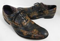Robert Graham Italy Steel Brown Flower Leather Wing Tip Oxford Dress Shoes 9 M