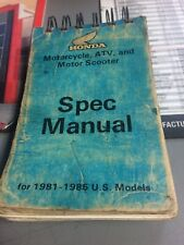 Honda Motorcycle, Atv, And Motor Scooter Spec Manual For 1981-1985 Models #S0061
