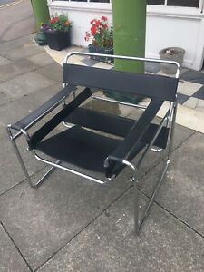 Wassily chair Marcel breuer Art Deco Chrome Black Leather