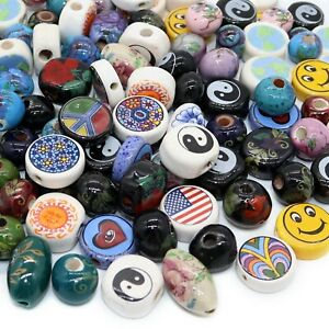 100 Assorted Porcelain Beads for Jewelry Making Adults, Hand Painted Ceramic Bea