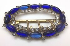 Vintage Victorian Ladies Belt Buckle With Crystals Venetian Blue Glass C065R