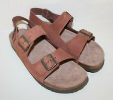 LL Bean OLF 3104 Brown Leather Birk Style Sandals Shoes Mens Size 11.5