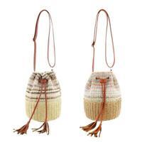 Boho PP Straw Shoulder Handbags Women Drawstring Bucket Crossbody Bags Satchel