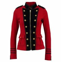 Wome'n Red Wool Military Jacket Army Commander Officer Band Trench Steampunk