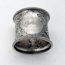Repousse Acorn Oak Leaf Napkin Ring Coin Silver 1860 Mono Mother
