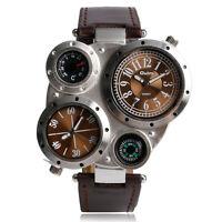 OULM Mens Cool Multi-Time Zone Movement Sport Military Army Quartz Wristwatch