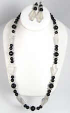 """Vintage Frosted Clear & Black LUCITE Bead Necklace & Earrings Set 1980s 24"""""""