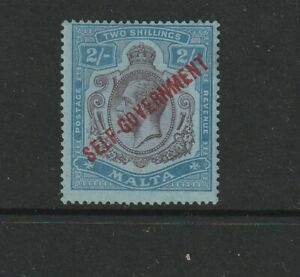 Malta 1922 Self Govt Script CA 2/- fresh LMM SG 120