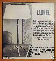 PUBLICITÉ 1958 LUNEL LAMPE DE TRAVAIL PIED EN BRONZE POLI - ADVERTISING