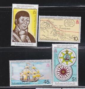 SOLOMON ISLANDS STAMPS 1981 MAURELLE'S VISIT  NAVIGATION MAP SHIP MNH - MISC234