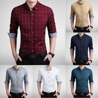 New UST6283 Casual Shirts Plaids Luxury Fashion Slim Men's Dress Formal Stylish