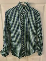TAILORBYRD COLLECTION NAVY AND GREEN CHECKED SHIRT LONG SLEEVES MENS S