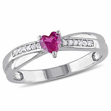 Sterling Silver Gemstone and Round-cut Diamond Accent Heart Ring