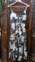 Monsoon Silk Occasion Dress UK 8 US 4 EU 36 Cream Black Floaty Floral Design