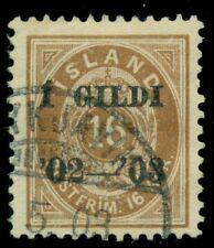 Iceland #55 (54) 16aur I Gildi Ovpt, used w/Reykjavik cancel, Scott $52.50