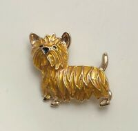 Adorable dog Brooch  enamel on gold tone metal