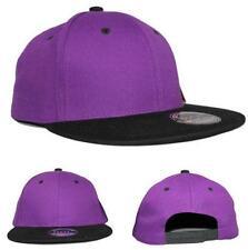 100% Cotton Flat Peak Two Tone Snapback Baseball Cap Purple/Black
