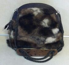 MUCHACHA FAUX FUR PURSE SUEDE INTERIOR DOUBLE CHAIN STRAP WITH LEATHER HANDLE