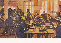 RARE Propaganda in Worker canteen old Russian Soviet postcard by Efimochkin