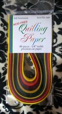 """Nip Quilling Papers Lake City Crafts 80 Pieces 1/8"""" Fall Autumn Colors #440"""