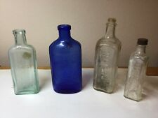 ANTIQUE / VINTAGE GLASS BOTTLES - LOT OF 4, CLEAR, GREEN, BLUE