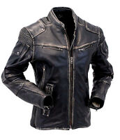 Mens Vintage Biker Style Motorcycle Cafe Racer Distressed Genuine Leather Jacket