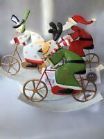Fun Christmas Santa Snowman Reindeer on Bike Bicycle Decoration by Heaven Sends