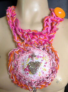 Necklace Fiber Art Pink Threads Handmade Statement Crocheted Metal Pendants Gift