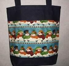 NEW Handmade Large Snowman Winter Holiday Denim Tote Bag